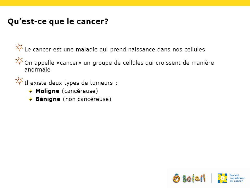 Qu'est-ce que le cancer? Le cancer est une maladie qui prend naissance dans nos cellules On appelle «cancer» un groupe de cellules qui croissent de ma