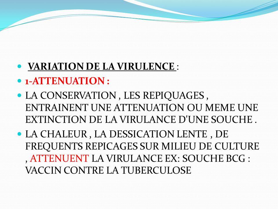 VARIATION DE LA VIRULENCE : 1-ATTENUATION : LA CONSERVATION, LES REPIQUAGES, ENTRAINENT UNE ATTENUATION OU MEME UNE EXTINCTION DE LA VIRULANCE D'UNE S