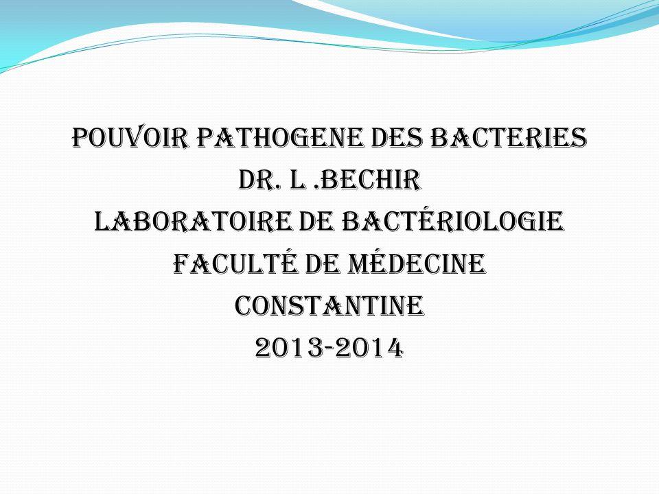 POUVOIR PATHOGENE DES BACTERIES DR. L.BECHIR Laboratoire de Bactériologie Faculté de Médecine CONSTANTINE 2013-2014