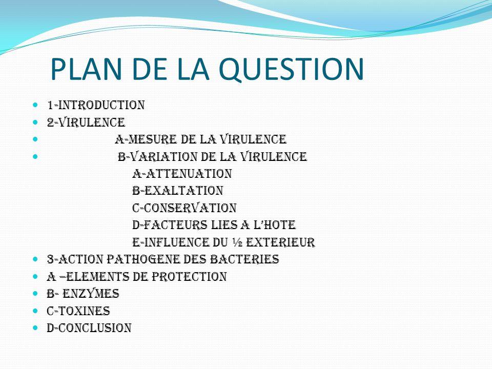 PLAN DE LA QUESTION 1-INTRODUCTION 2-VIRULENCE A-MESURE DE LA VIRULENCE B-VARIATION DE LA VIRULENCE a-attenuation b-exaltation c-conservation d-facteu