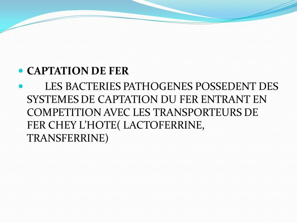 CAPTATION DE FER LES BACTERIES PATHOGENES POSSEDENT DES SYSTEMES DE CAPTATION DU FER ENTRANT EN COMPETITION AVEC LES TRANSPORTEURS DE FER CHEY L'HOTE(