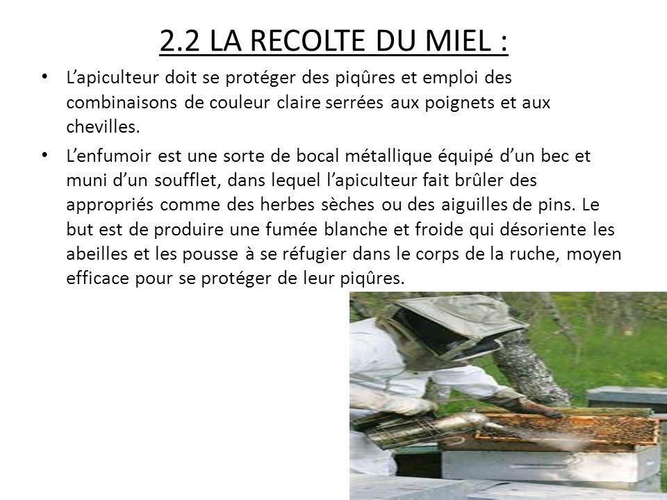 2.2 LA RECOLTE DU MIEL : L'apiculteur doit se protéger des piqûres et emploi des combinaisons de couleur claire serrées aux poignets et aux chevilles.
