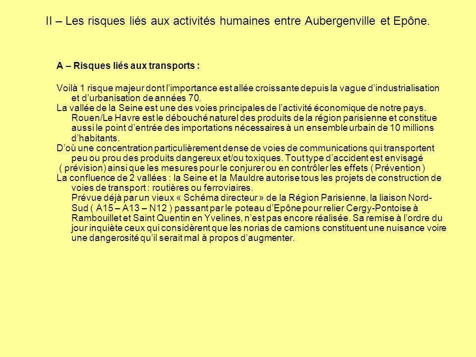 II – Les risques liés aux activités humaines entre Aubergenville et Epône. A – Risques liés aux transports : Voilà 1 risque majeur dont l'importance e