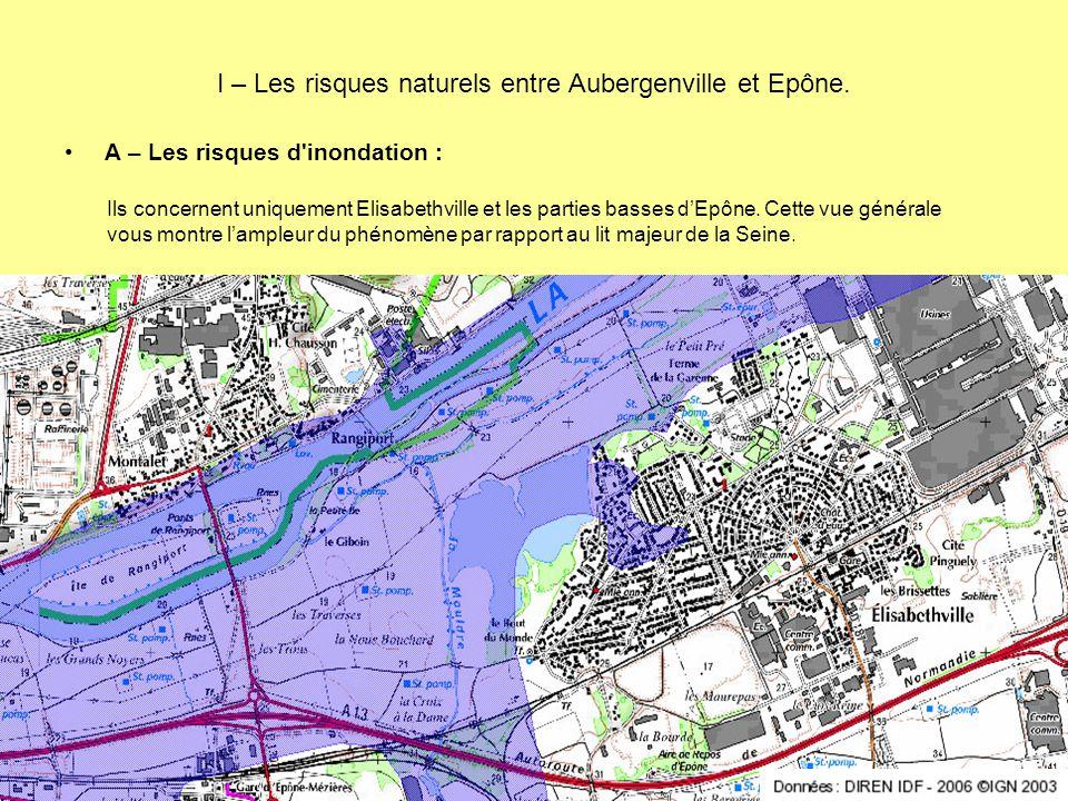 I – Les risques naturels entre Aubergenville et Epône. A – Les risques d'inondation : Ils concernent uniquement Elisabethville et les parties basses d