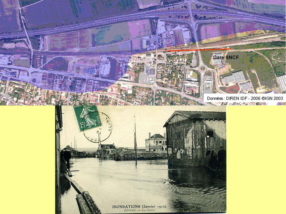 - Les parties basses du Poteau d'Epône jusqu'à la Seine ont connu le va et vient des eaux de crue qui recouvraient les cultures maraîchères et les que