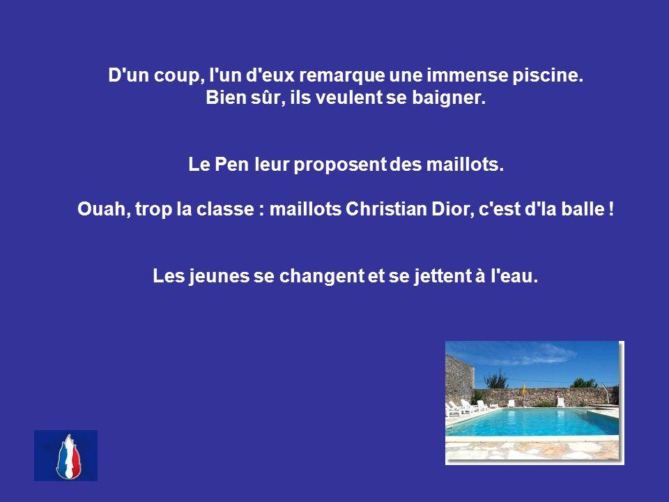 Alors, Le Pen appuie discrètement sur un bouton, une vanne s ouvre au fond de la piscine et d énormes crocodiles surgissent.