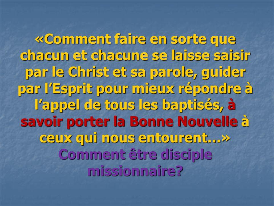 «Comment faire en sorte que chacun et chacune se laisse saisir par le Christ et sa parole, guider par l'Esprit pour mieux répondre à l'appel de tous l