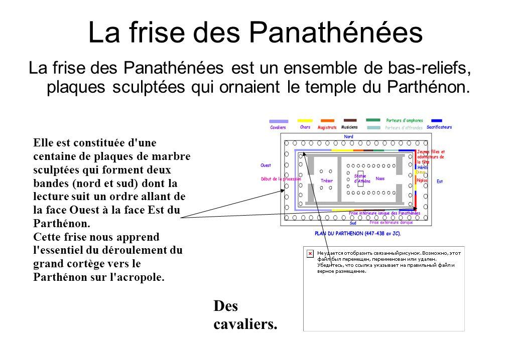La frise des Panathénées La frise des Panathénées est un ensemble de bas-reliefs, plaques sculptées qui ornaient le temple du Parthénon. Elle est cons