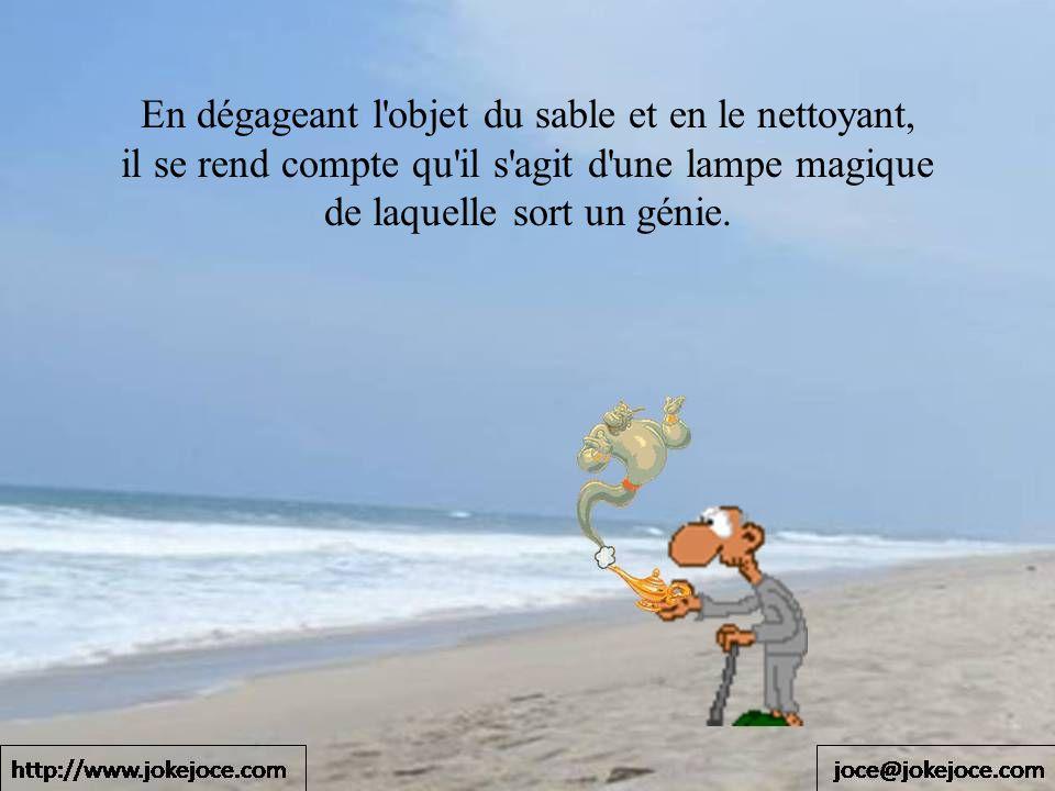 En dégageant l objet du sable et en le nettoyant, il se rend compte qu il s agit d une lampe magique de laquelle sort un génie.