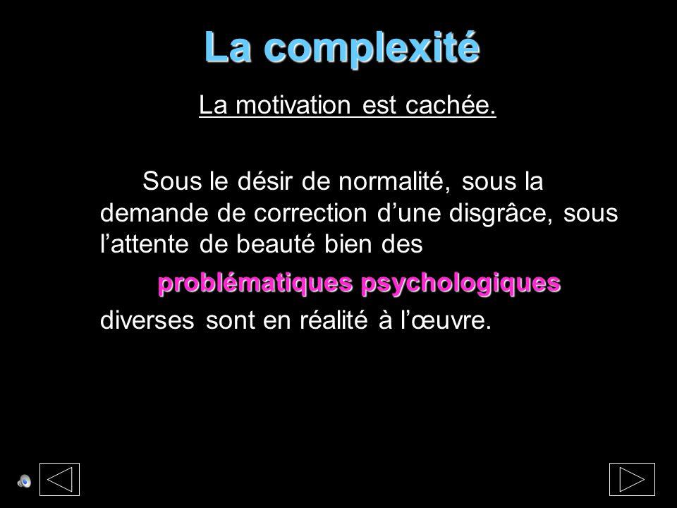 La complexité La motivation est cachée.