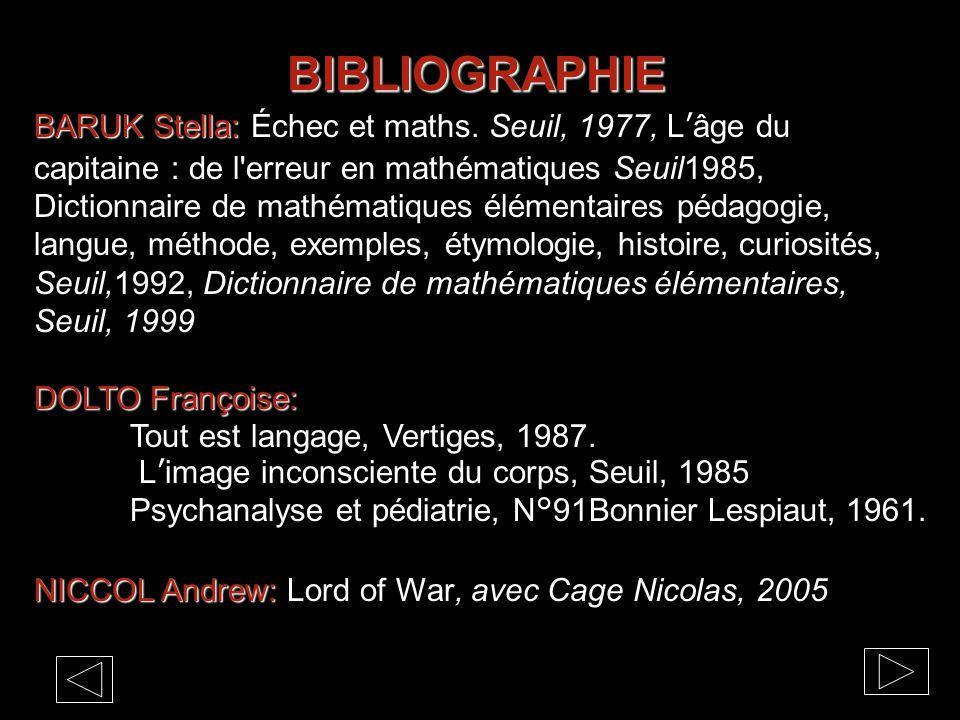BIBLIOGRAPHIE BARUK Stella: BARUK Stella: Échec et maths.