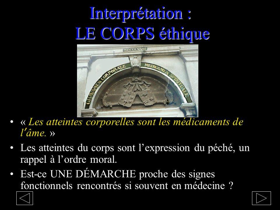 Interprétation : LE CORPS éthique « Les atteintes corporelles sont les médicaments de l'âme.