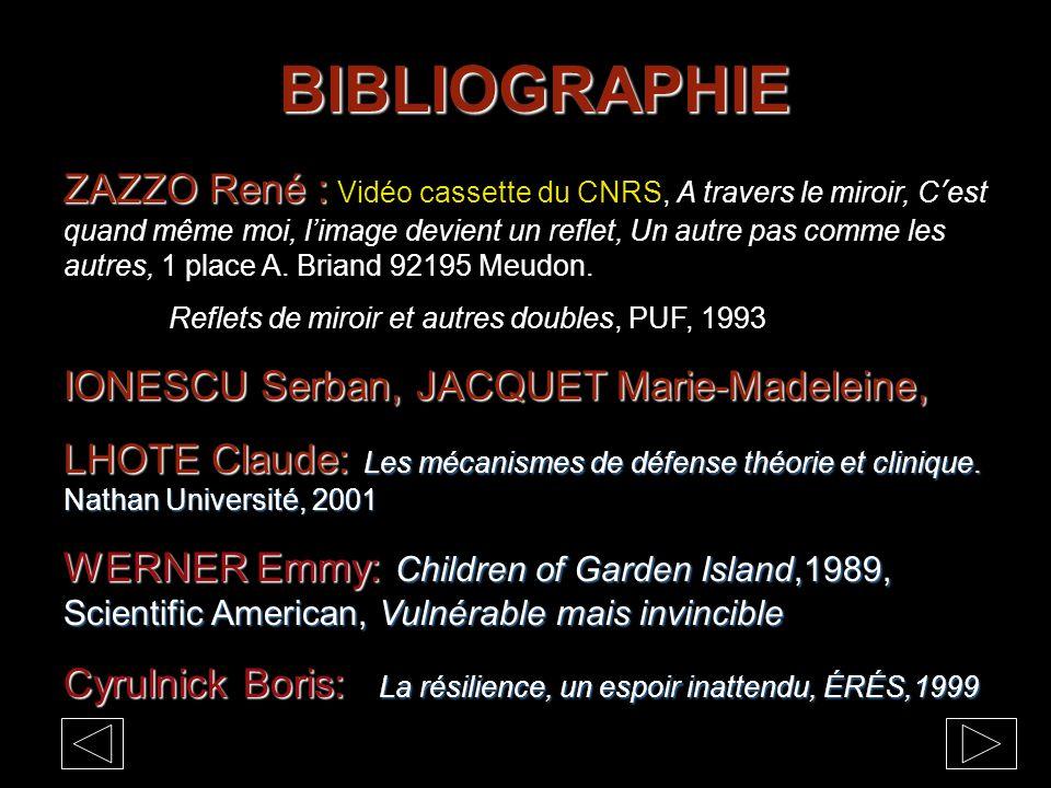 BIBLIOGRAPHIE ZAZZO René : ZAZZO René : Vidéo cassette du CNRS, A travers le miroir, C'est quand même moi, l'image devient un reflet, Un autre pas comme les autres, 1 place A.