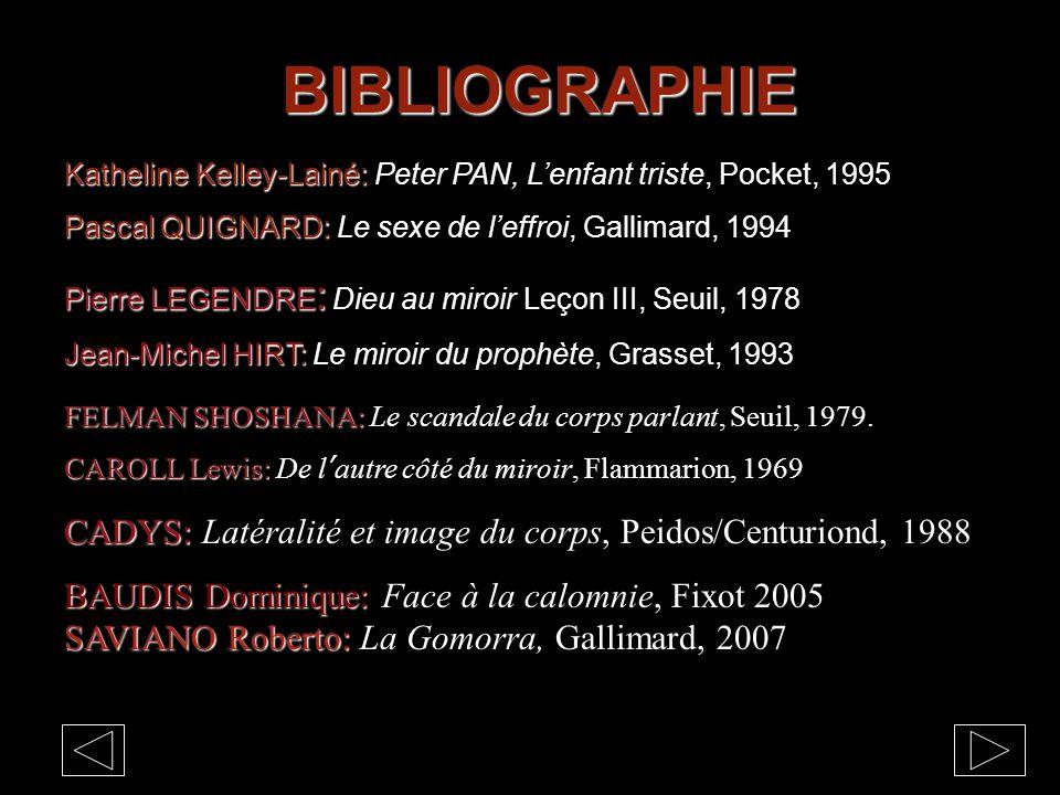 BIBLIOGRAPHIE Katheline Kelley-Lainé: Katheline Kelley-Lainé: Peter PAN, L'enfant triste, Pocket, 1995 Pascal QUIGNARD: Pascal QUIGNARD: Le sexe de l'effroi, Gallimard, 1994 Pierre LEGENDRE : Pierre LEGENDRE : Dieu au miroir Leçon III, Seuil, 1978 Jean-Michel HIRT: Jean-Michel HIRT: Le miroir du prophète, Grasset, 1993 FELMAN SHOSHANA: FELMAN SHOSHANA: Le scandale du corps parlant, Seuil, 1979.