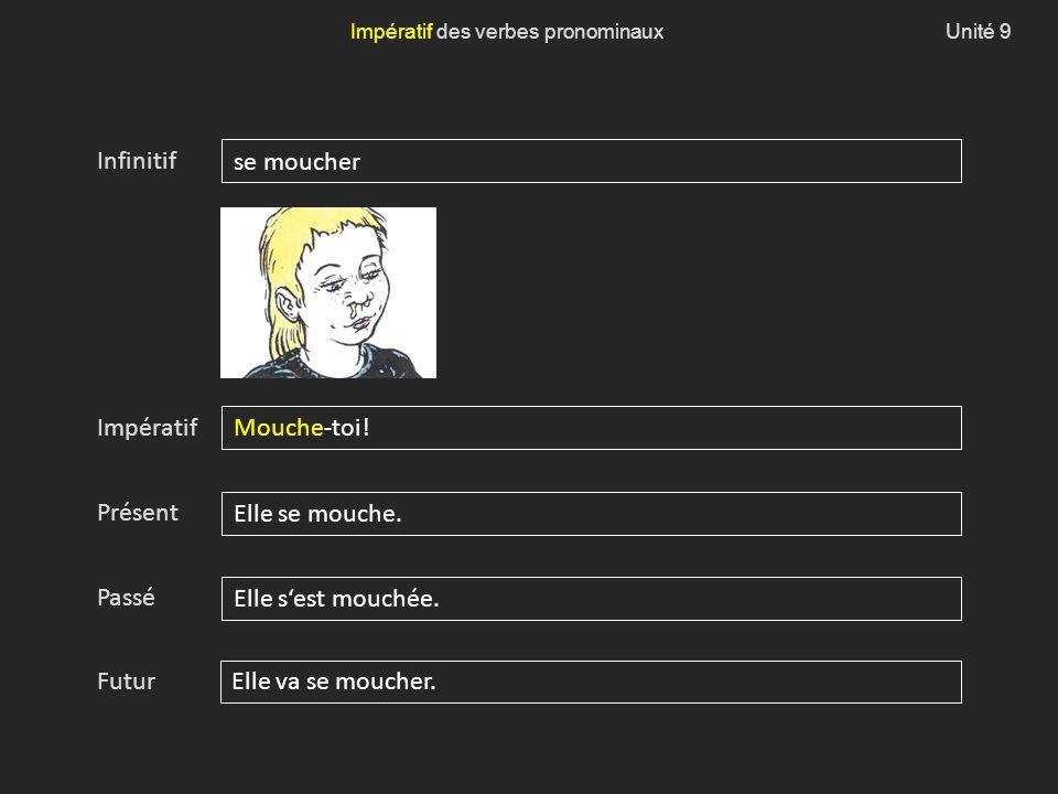 Unité 9Impératif des verbes pronominaux Impératif Infinitif Présent Passé Futur se moucher Mouche-toi.