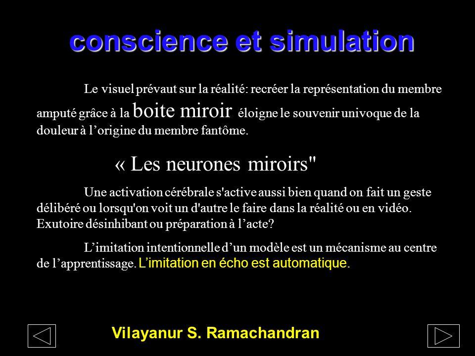 conscience et simulation Pr ZAZZO La maturation de l'intention Tardivement vers 18 ans se développera l'aire frontale pré motrice qui gère la discrimi