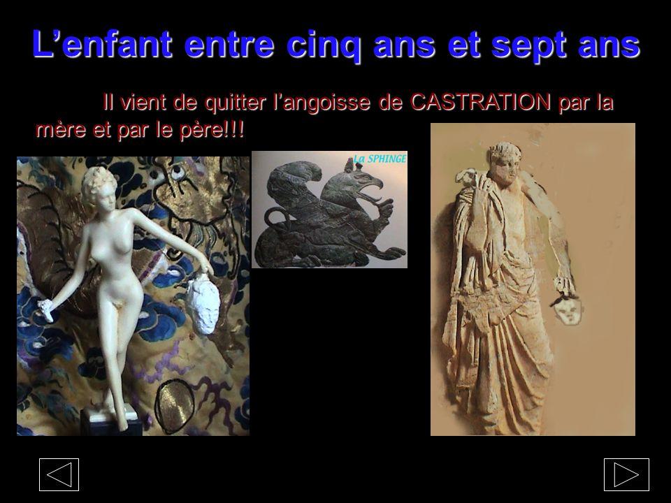 L'enfant entre cinq ans et sept ans Il vient de quitter l'angoisse de CASTRATION par la mère et par le père!!!