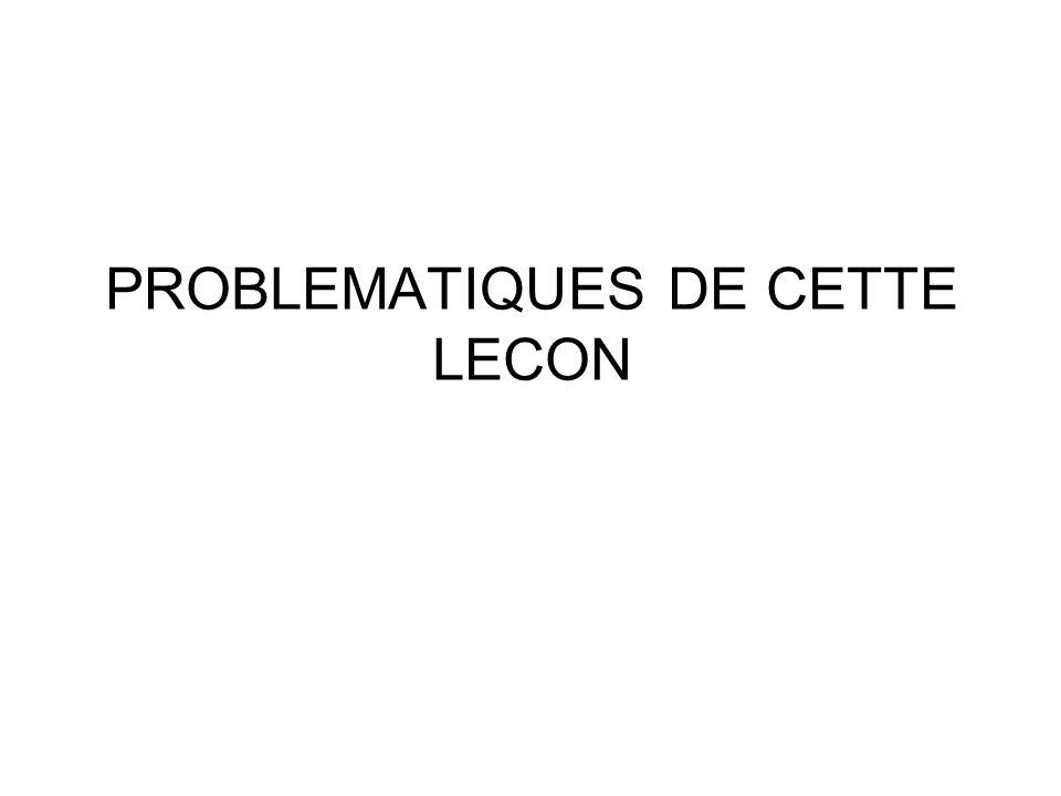 PROBLEMATIQUES DE CETTE LECON