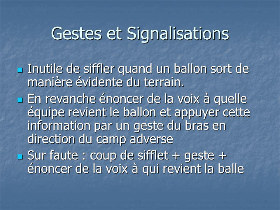 Gestes et Signalisations Inutile de siffler quand un ballon sort de manière évidente du terrain.