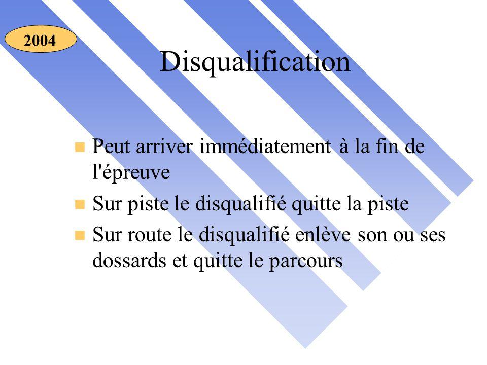 Disqualification 2004 n Peut arriver immédiatement à la fin de l épreuve n Sur piste le disqualifié quitte la piste n Sur route le disqualifié enlève son ou ses dossards et quitte le parcours
