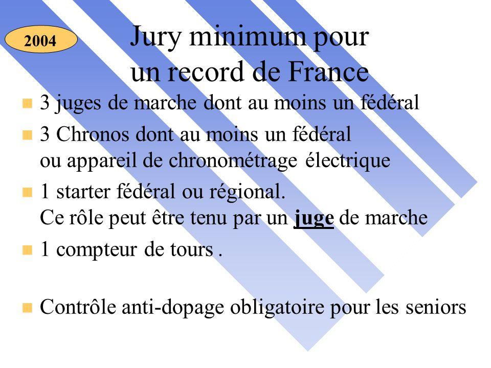 Jury minimum pour un record de France 2004 n 3 juges de marche dont au moins un fédéral n 3 Chronos dont au moins un fédéral ou appareil de chronométrage électrique n 1 starter fédéral ou régional.