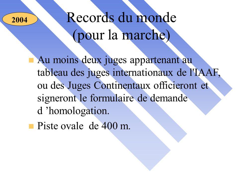 Records du monde (pour la marche) 2004 n Au moins deux juges appartenant au tableau des juges internationaux de l IAAF, ou des Juges Continentaux officieront et signeront le formulaire de demande d 'homologation.