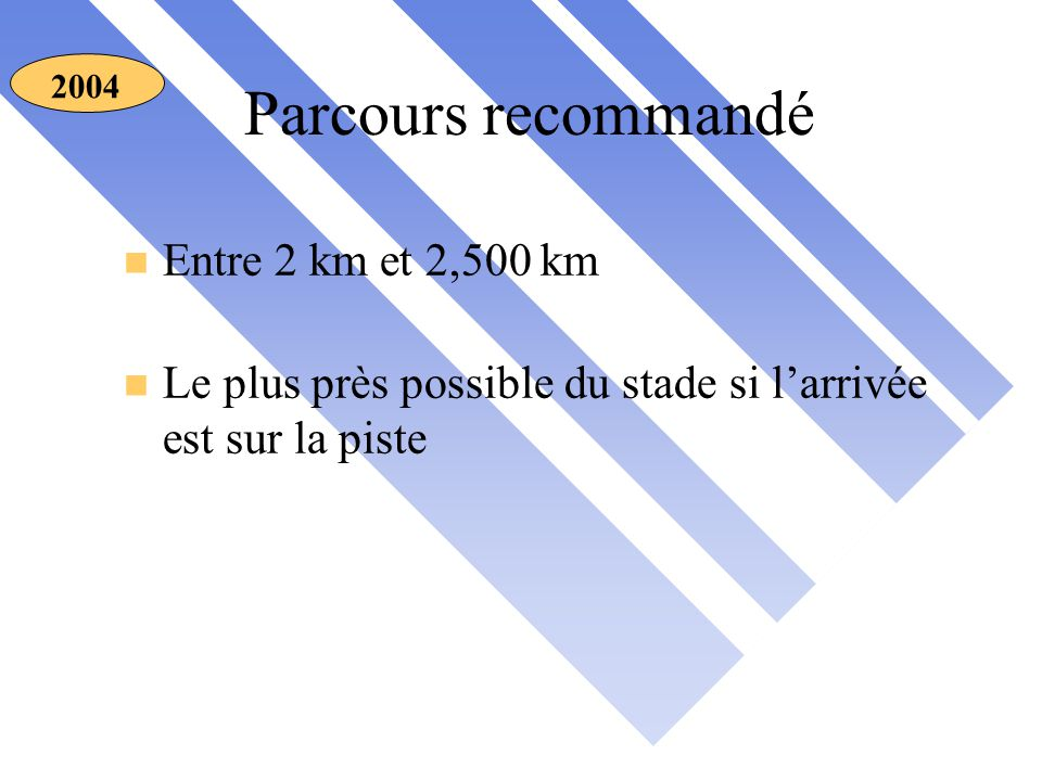 Parcours recommandé 2004 n Entre 2 km et 2,500 km n Le plus près possible du stade si l'arrivée est sur la piste