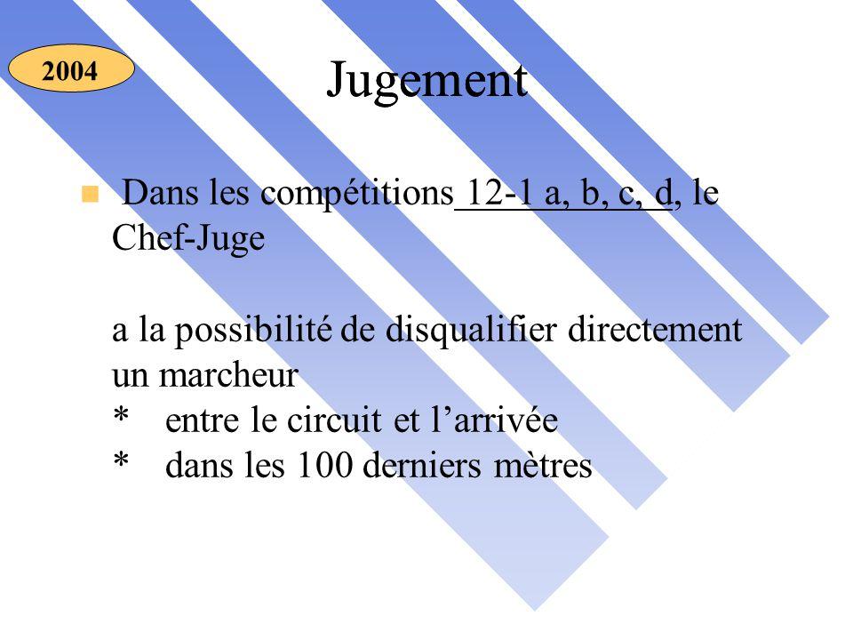 n Dans les compétitions 12-1 a, b, c, d, le Chef-Juge a la possibilité de disqualifier directement un marcheur *entre le circuit et l'arrivée *dans les 100 derniers mètres 2004 Jugement