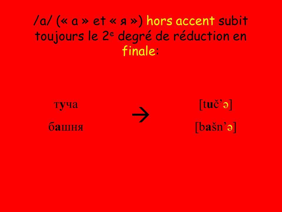 /a/ (« а » et « я ») hors accent subit toujours le 2 e degré de réduction en finale: туча башня  [tuč'ə] [bašn'ə]