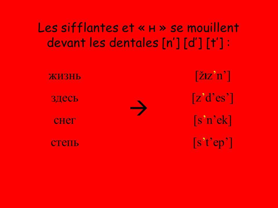 Les sifflantes et « н » se mouillent devant les dentales [n'] [d'] [t'] : жизнь здесь снег степь  [ž ł z'n'] [z'd'es'] [s'n'ek] [s't'ep']