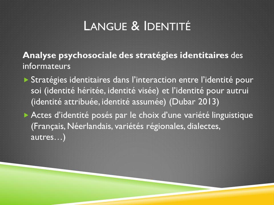 L ANGUE & I DENTITÉ Analyse psychosociale des stratégies identitaires des informateurs  Stratégies identitaires dans l'interaction entre l'identité pour soi (identité héritée, identité visée) et l'identité pour autrui (identité attribuée, identité assumée) (Dubar 2013)  Actes d'identité posés par le choix d'une variété linguistique (Français, Néerlandais, variétés régionales, dialectes, autres…)