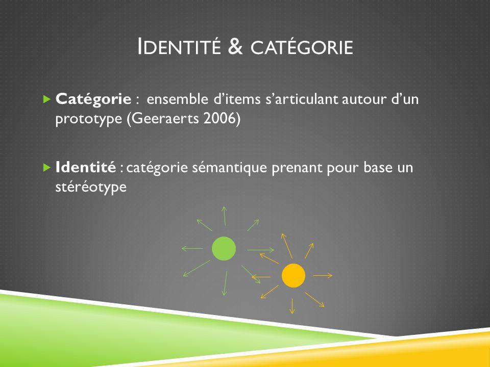 I DENTITÉ & CATÉGORIE  Catégorie : ensemble d'items s'articulant autour d'un prototype (Geeraerts 2006)  Identité : catégorie sémantique prenant pour base un stéréotype
