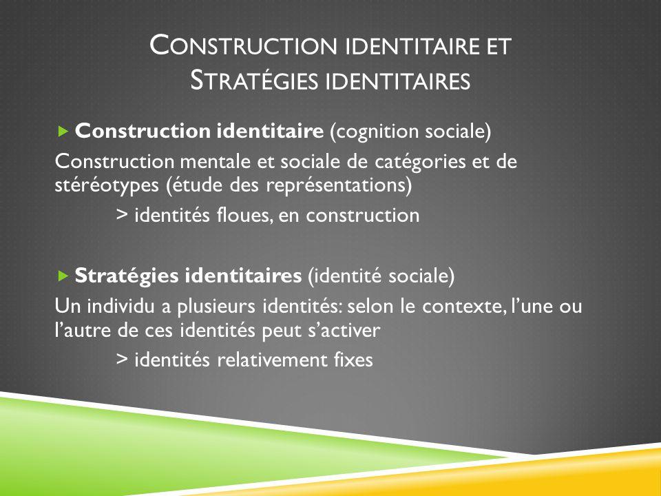 C ONSTRUCTION IDENTITAIRE ET S TRATÉGIES IDENTITAIRES  Construction identitaire (cognition sociale) Construction mentale et sociale de catégories et de stéréotypes (étude des représentations) > identités floues, en construction  Stratégies identitaires (identité sociale) Un individu a plusieurs identités: selon le contexte, l'une ou l'autre de ces identités peut s'activer > identités relativement fixes