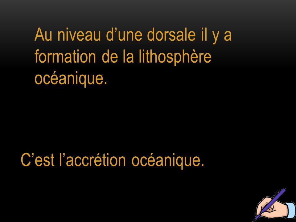Au niveau d'une dorsale il y a formation de la lithosphère océanique. C'est l'accrétion océanique.