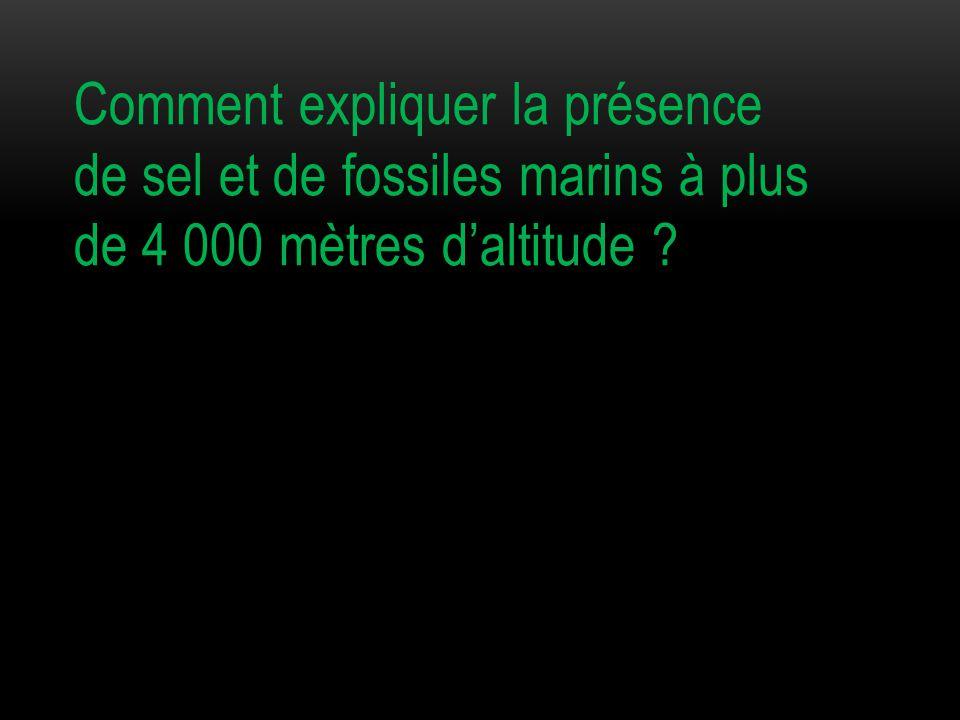 Comment expliquer la présence de sel et de fossiles marins à plus de 4 000 mètres d'altitude ?