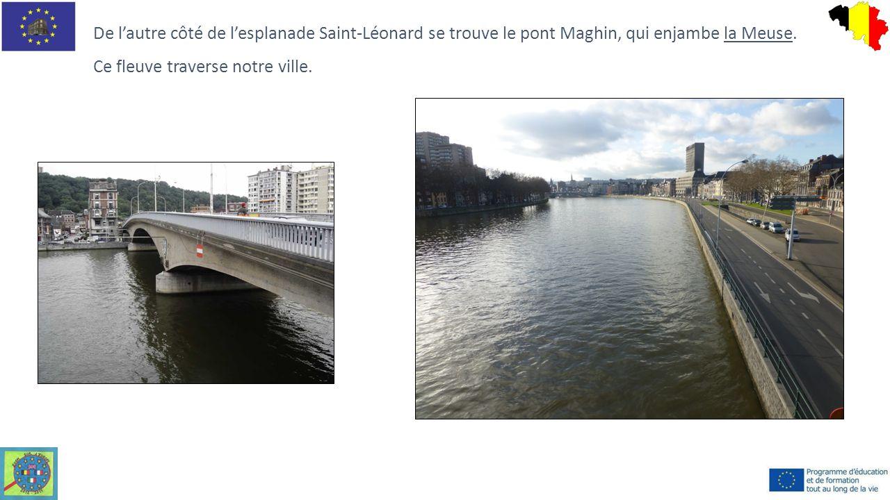 De l'autre côté de l'esplanade Saint-Léonard se trouve le pont Maghin, qui enjambe la Meuse. Ce fleuve traverse notre ville.