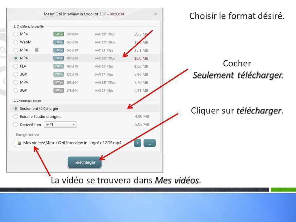 La vidéo se télécharge. On voit ici le format qui a été choisi.