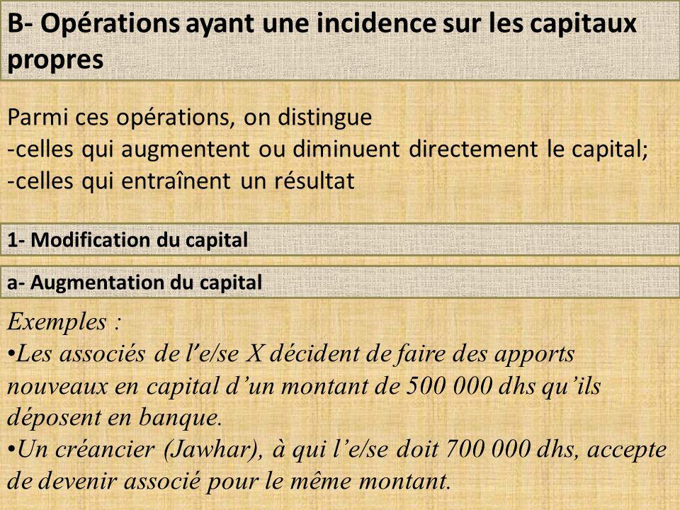B- Opérations ayant une incidence sur les capitaux propres 1- Modification du capital a- Augmentation du capital Exemples : Les associés de l ' e/se X décident de faire des apports nouveaux en capital d'un montant de 500 000 dhs qu'ils déposent en banque.