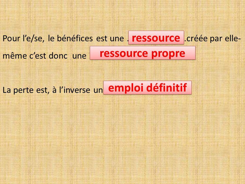 Pour l'e/se, le bénéfices est une ………………………créée par elle- même c'est donc une ………………………………………… La perte est, à l'inverse un ressource ressource propre emploi définitif
