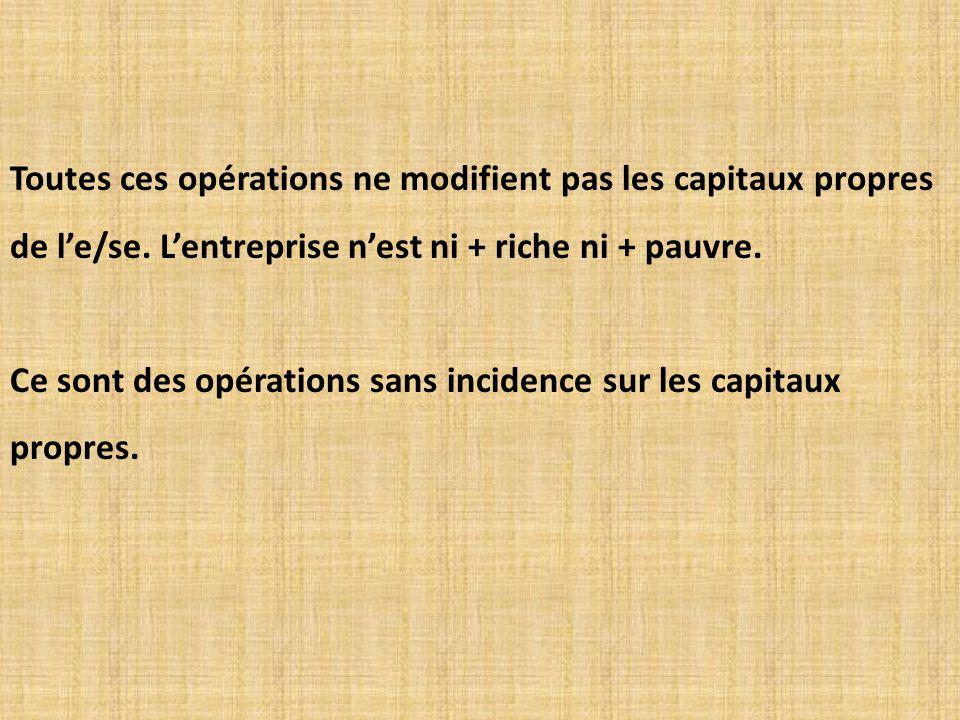 Toutes ces opérations ne modifient pas les capitaux propres de l'e/se.