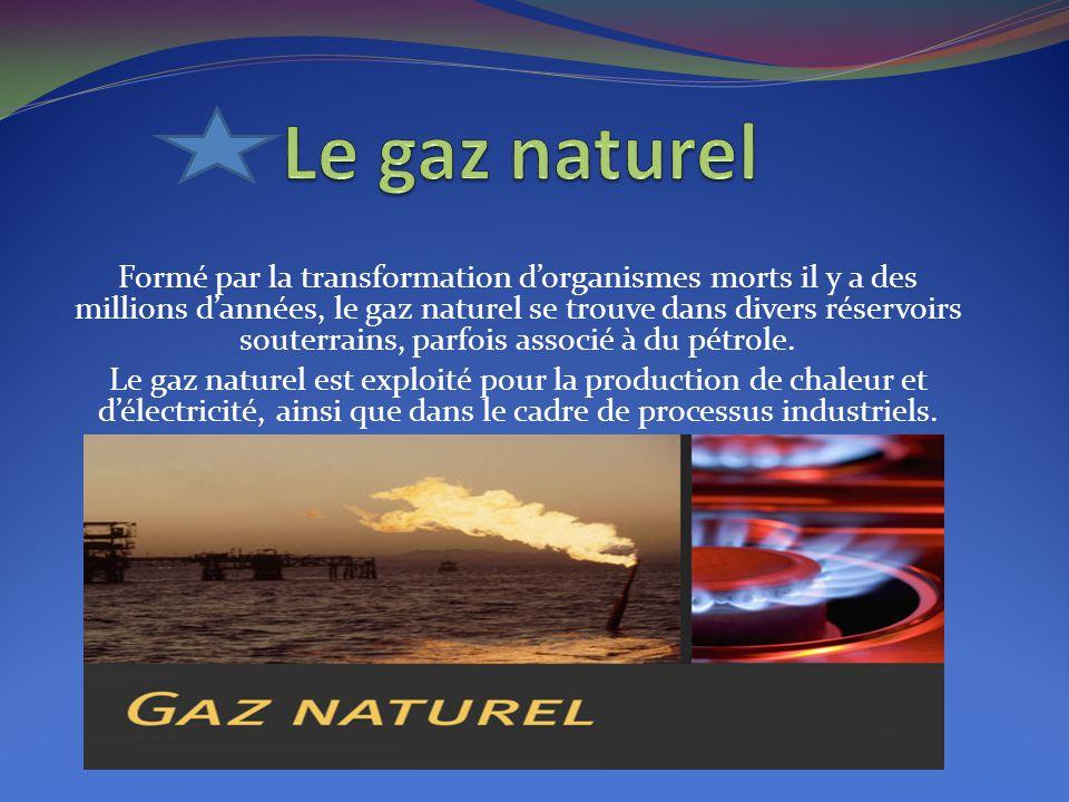 Formé par la transformation d'organismes morts il y a des millions d'années, le gaz naturel se trouve dans divers réservoirs souterrains, parfois asso