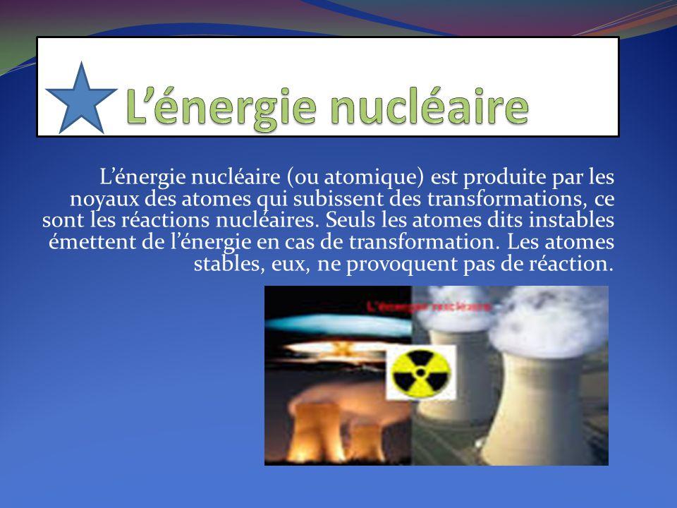 L'énergie nucléaire (ou atomique) est produite par les noyaux des atomes qui subissent des transformations, ce sont les réactions nucléaires. Seuls le