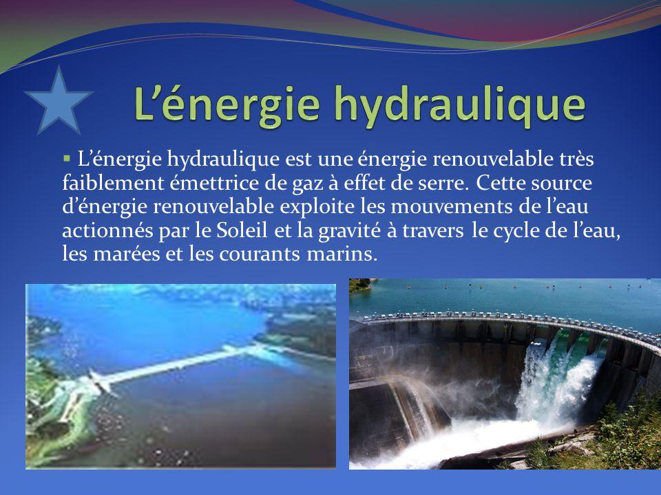 L'énergie hydraulique est une énergie renouvelable très faiblement émettrice de gaz à effet de serre. Cette source d'énergie renouvelable exploite l