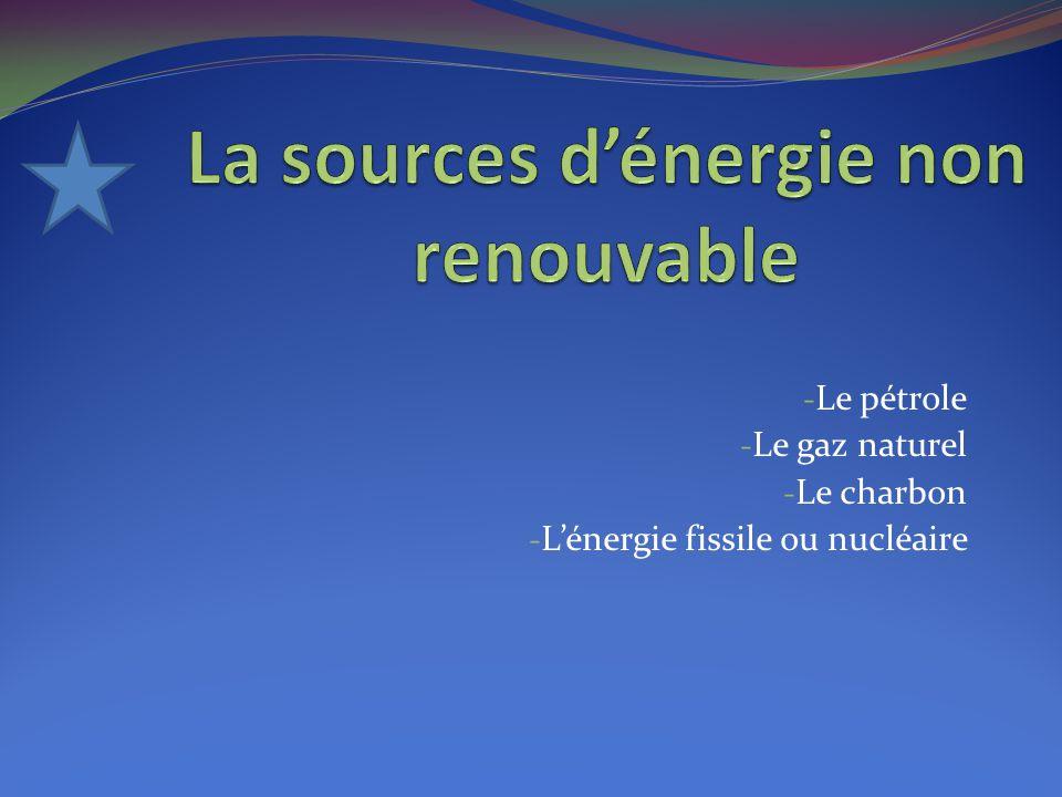 - Le pétrole - Le gaz naturel - Le charbon - L'énergie fissile ou nucléaire