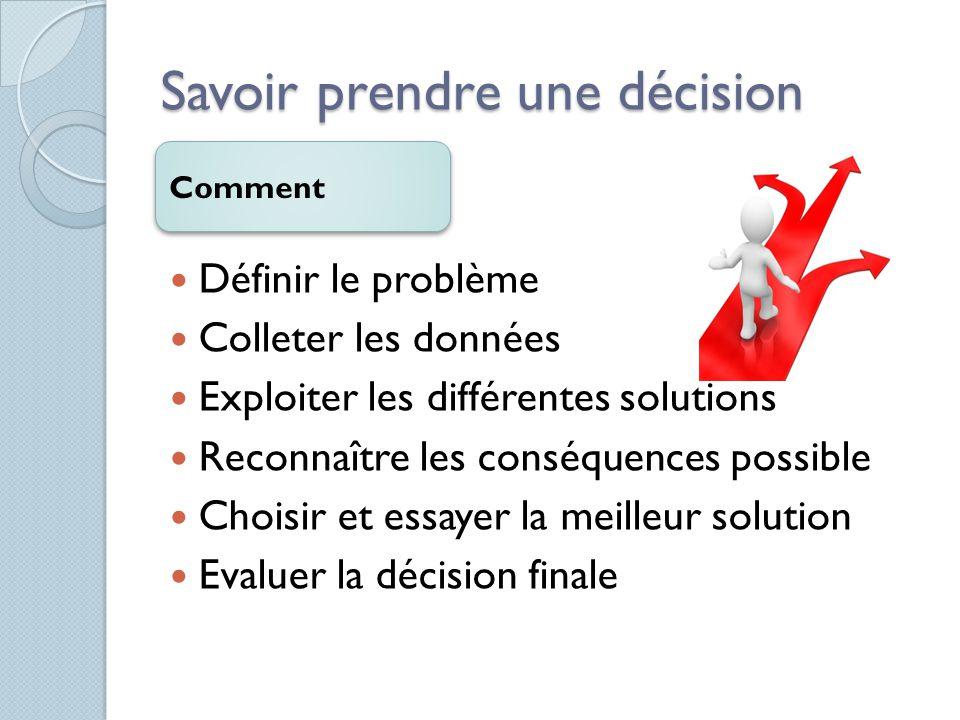 Savoir prendre une décision Comment Définir le problème Colleter les données Exploiter les différentes solutions Reconnaître les conséquences possible