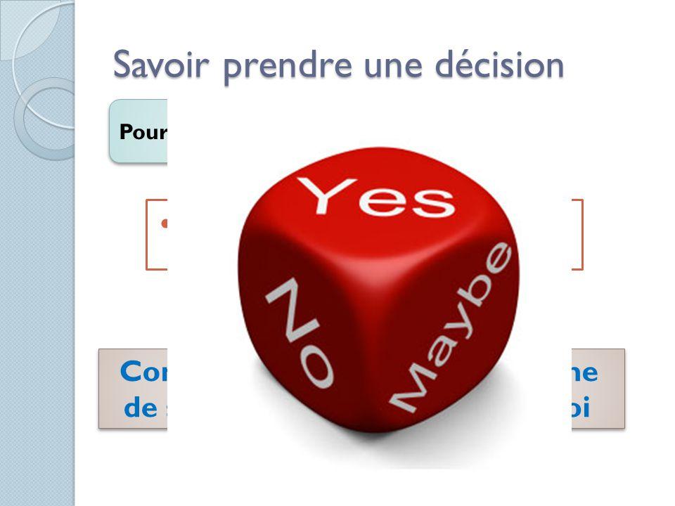 Savoir prendre une décision Pourquoi Ressentir un meilleur sentiment Contrôle de sa vie Efficacité personnelle Estime de soi
