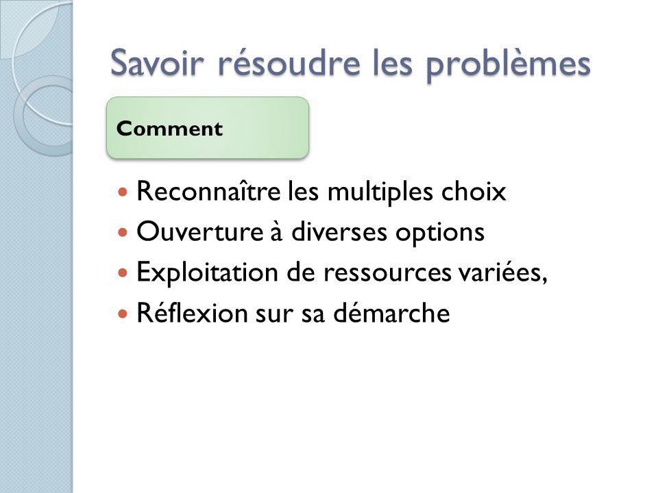 Savoir résoudre les problèmes Comment Reconnaître les multiples choix Ouverture à diverses options Exploitation de ressources variées, Réflexion sur s