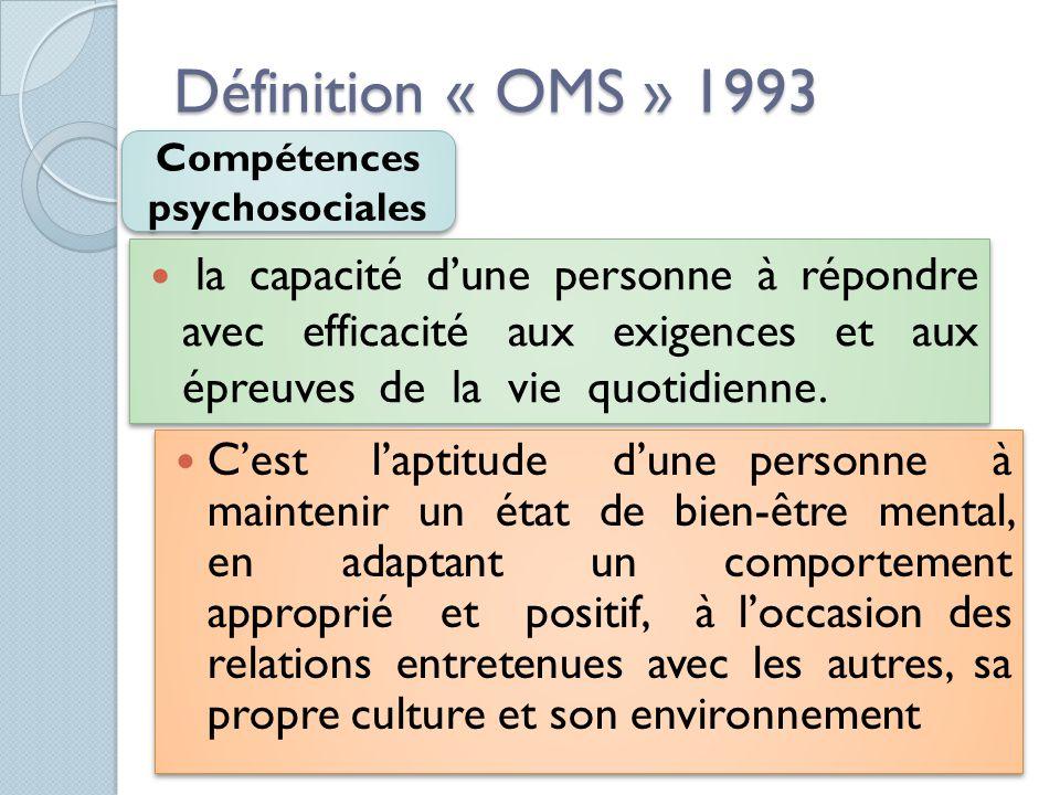 Définition « OMS » 1993 la capacité d'une personne à répondre avec efficacité aux exigences et aux épreuves de la vie quotidienne. Compétences psychos