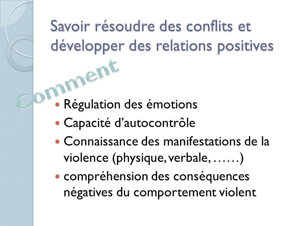 Savoir résoudre des conflits et développer des relations positives Régulation des émotions Capacité d'autocontrôle Connaissance des manifestations de