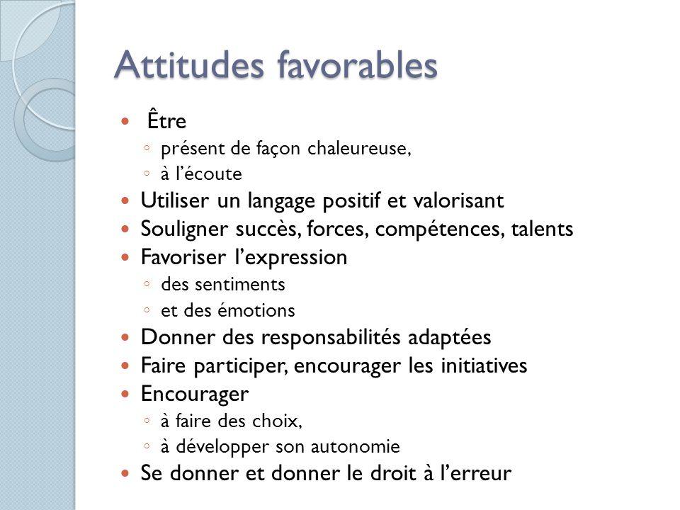 Attitudes favorables Être ◦ présent de façon chaleureuse, ◦ à l'écoute Utiliser un langage positif et valorisant Souligner succès, forces, compétences